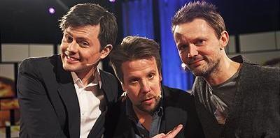 Fredrik Wikingsson, Filip Hammar och Felix Herngren. Foto:Christian Gustavsson/Kanal 5.
